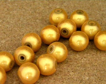 10 pearls magic - miracles - 10 mm - 3D effect - golden yellow - PE156