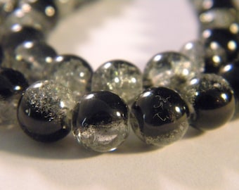 50 2 tones-8 mm - black 9 PE235 Crackle glass beads