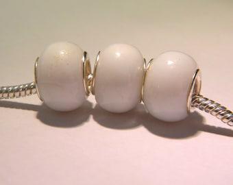 5 bead charm European-- 14 x 10 mm - white - lampwork glass bead big hole 5 mm - G251