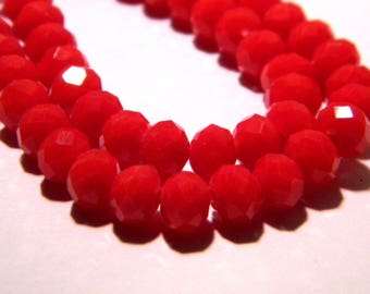 "40 pumpkin way ""jade"" - 6 mm - faceted glass beads - red tomato - F52"