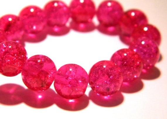50 perles en verre craquelé 8 mm  translucide - fuchsia foncé -perle verre bicolore- glass-  G182-2