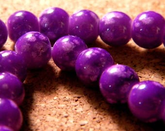 10 pearls 8 mm glass speckled purple PE201 2