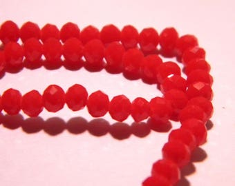 "45 beads glass pumpkin faceted - 4 x 3 mm - way ""jade"" - red tomato - F59"