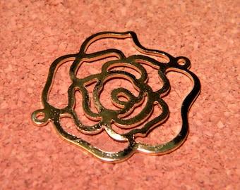 print pendant flower Camellia - 32 mm - metal fine filigree PF53 connectors