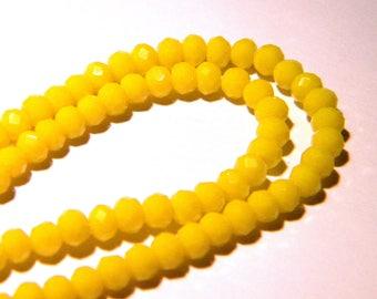 "45 glass beads faceted - 4 x 3 mm - way ""jade"" pumpkin - yellow - PG119"