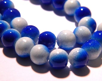 100 glass beads 4 mm - 2 colors - Blue and white-glass - G57-2