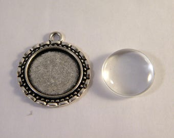 26mm with clear glass cabochon pendant Kit