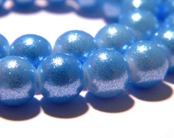 40 Peking glass beads - 8 mm - effect glitter-turquoise - F182 glass bead