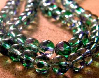 50 translucent glass 2 colors - Blue and green - 8 mm beads - 6 PE233