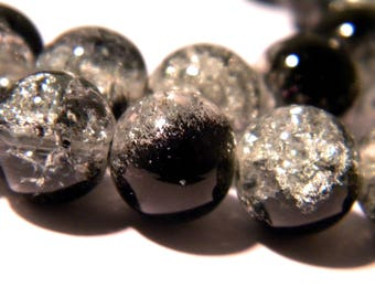 30 Crackle glass beads 10 mm translucent - black - two-tone glass bead - G109