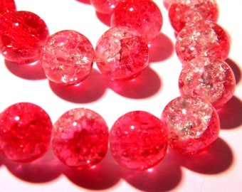 30 Crackle glass beads 10 mm translucent - red - two-tone glass bead - G109