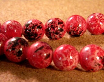 "10 pearls glass 12 mm-red - PE173 ""reality"""