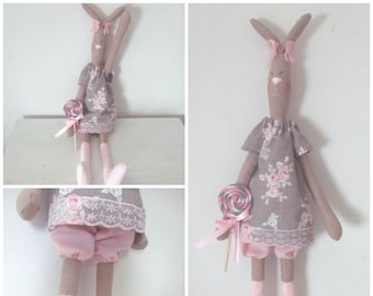 """Tilda and her """"Lollipop"""" shabby chic style linen Bunny"""
