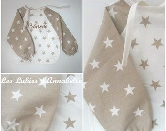 CUSTOMIZABLE canvas oilcloth and cotton long sleeve bib