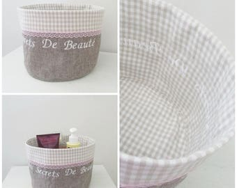 """My Beauty Secrets"" storage basket style Shabby chic"