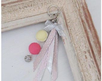Keychain or bag macarons charm rose and vanilla Shabby Chic style