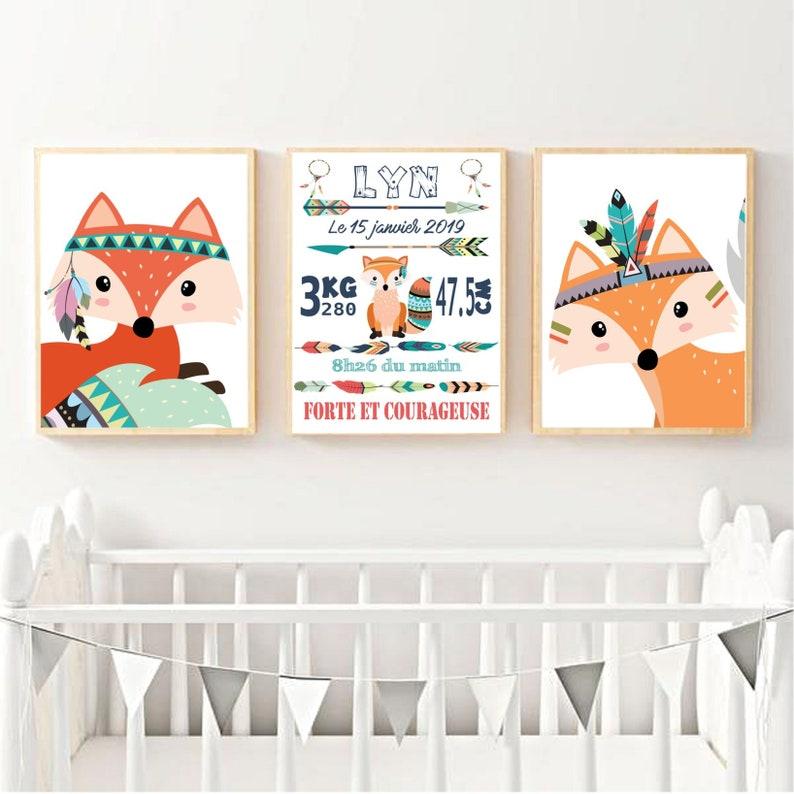 Affiche renard pour chambre d'enfant - Créatrice ETSY : LesLubiesdAnnabelle
