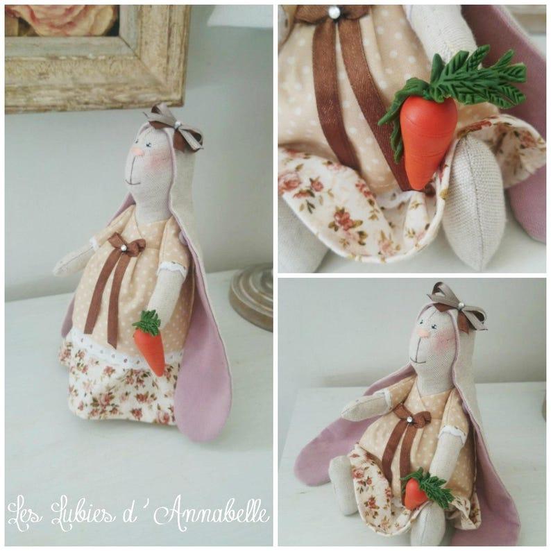 Shabby Chic linen inspired Tilda style Bunny image 0