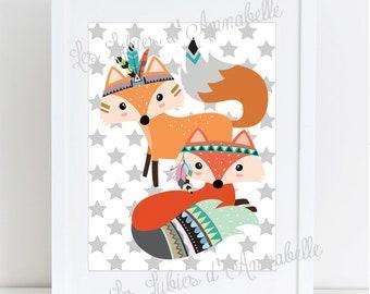 Indian Fox /Tribale couple's nursery poster
