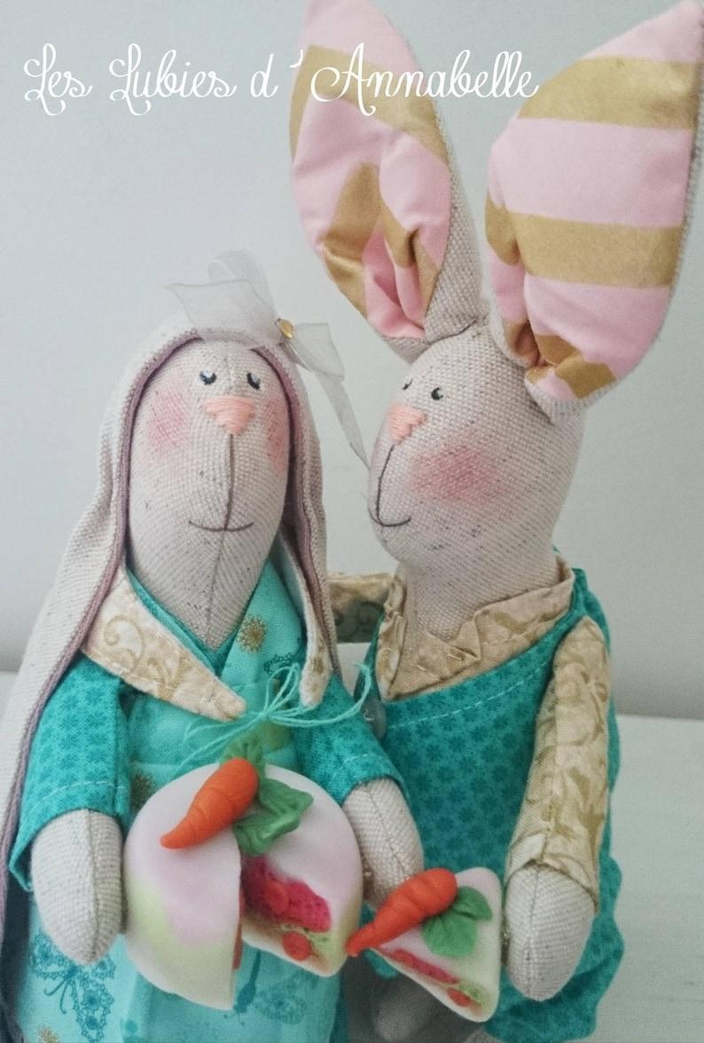 Dolls rabbits style shabby Chic linen Tilda inspired couple image 0
