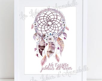 Poster dream catcher Indian Style Chic Bohemian