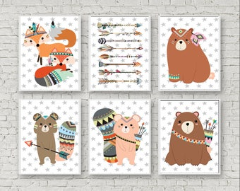 Poster A4 set of 6 for Indian or Tribal nursery