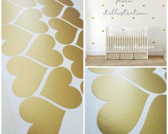Gold gold hearts stickers