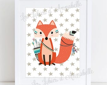 Indian or Tribal Fox nursery poster