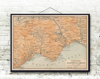 Amalfi Italy Map Etsy