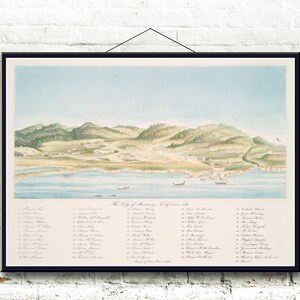 Sacramento California Circa 1850 Bird/'s Eye View Fine Art Print