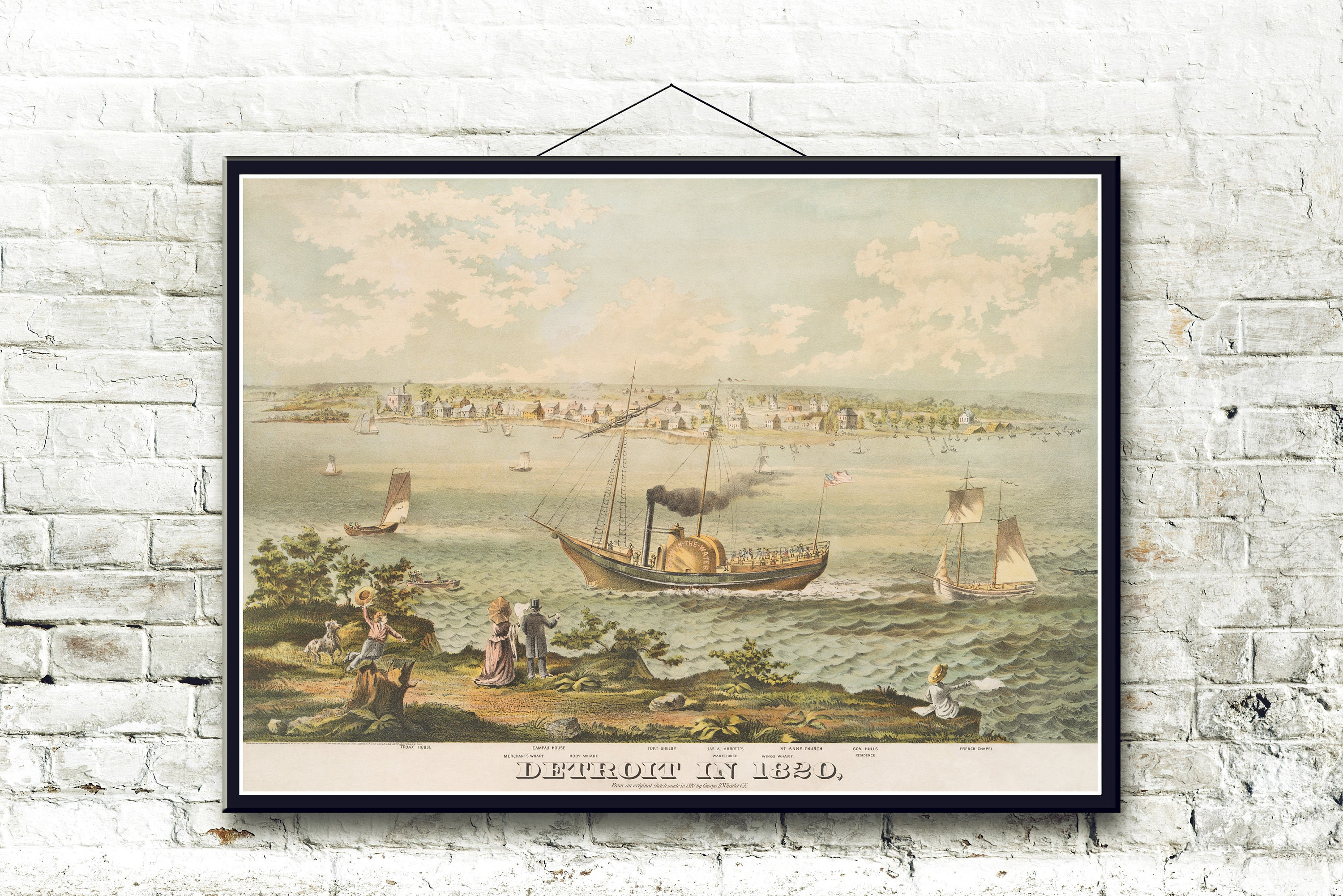 Detroit Michigan In 1820 Bird S Eye View Map Fine Art Etsy