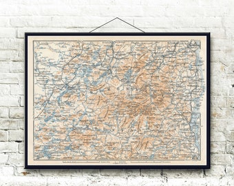 Adirondack Mountains 1909 Map Fine Art Print