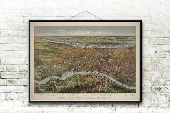 Philadelphia Pennsylvania 1875 Bird/'s Eye View Map Fine Art Print