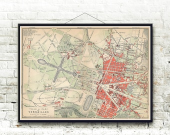 Versailles Map 1910, Paris France Fine Art Print