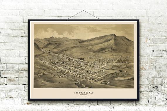 Helena Montana 1875 Bird\'s Eye View Map Fine Art Print   Etsy