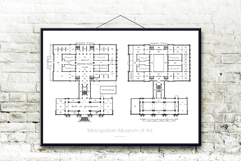 Metropolitan Museum Of Art 1909 Architectural Floor Plan Fine Etsy