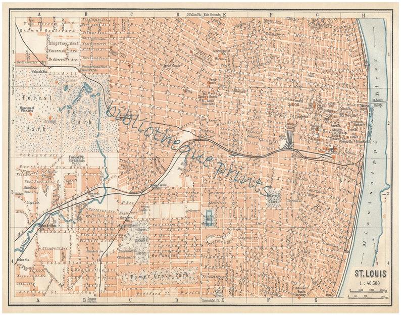 St Louis Missouri 1909 Map Fine Art Print