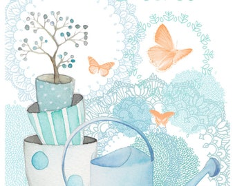 Greeting card double romantic watercolor, french designer - watering pots Blues-FSC paper and butterflies