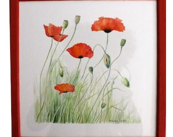 """Exemplary unique original watercolor, French creation, """"Poppy flowers"""" illustration painted in Provence watercolor"""