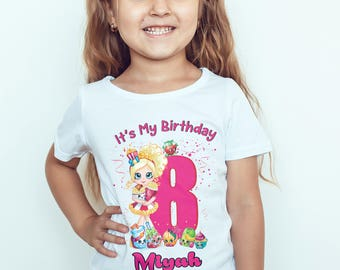 Shopkins Personalised Birthday Kids T Shirt Childrens Toddlers Top