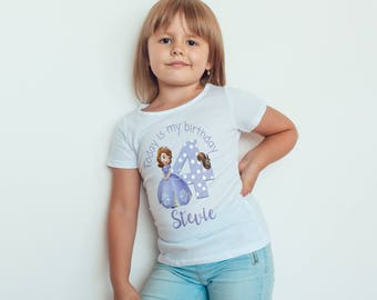 Sofia the first  Birthday  girls Kids personalised T-Shirt, Childrens Toddlers T Shirt Top.