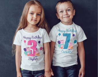peppa pig Birthday  girls Kids personalised T-Shirt, Childrens Toddlers T Shirt Top.