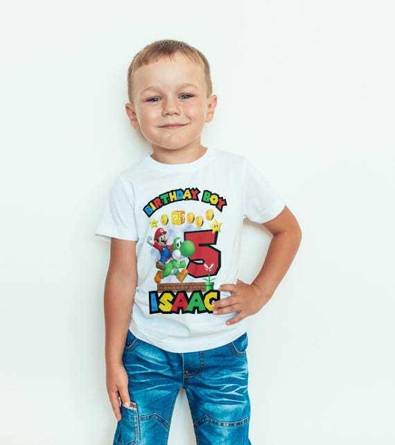 Boys Personalised Mario Birthday Boy T-shirt