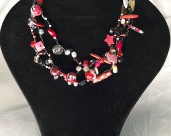 Red, pink, white, polymer clay, seed beads, rhinestone necklace...