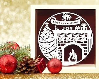 Christmas Decorations, Christmas Paper Cut Frame, Personalised Christmas Gift, Family Gift, Christmas Decor, Festive Frame, Secret Santa