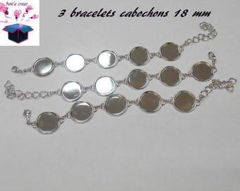 3 silver bracelets 5 slots for 18 mm cabochon