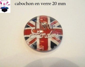 1 cabochon clear 20mm British flag theme