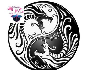 1 cabochon clear 18 mm theme ying yang