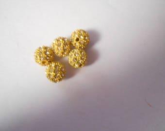 5 beads resin with 10 mm yellow rhinestones