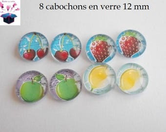 8 glass cabochons 12 mm for loop fruit theme